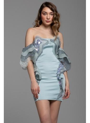 Tuba Ergin Şeffaf Payet İşleme Detaylı Volanlı Mini Alania Elbise Turkuaz